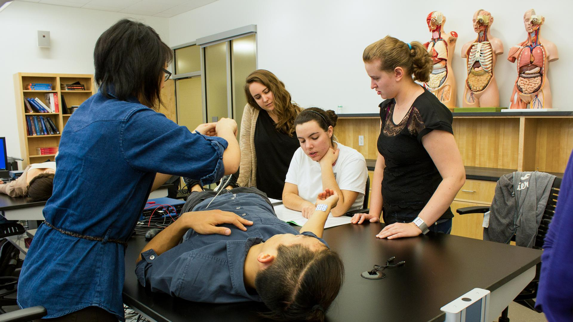 Nursing students in a lab