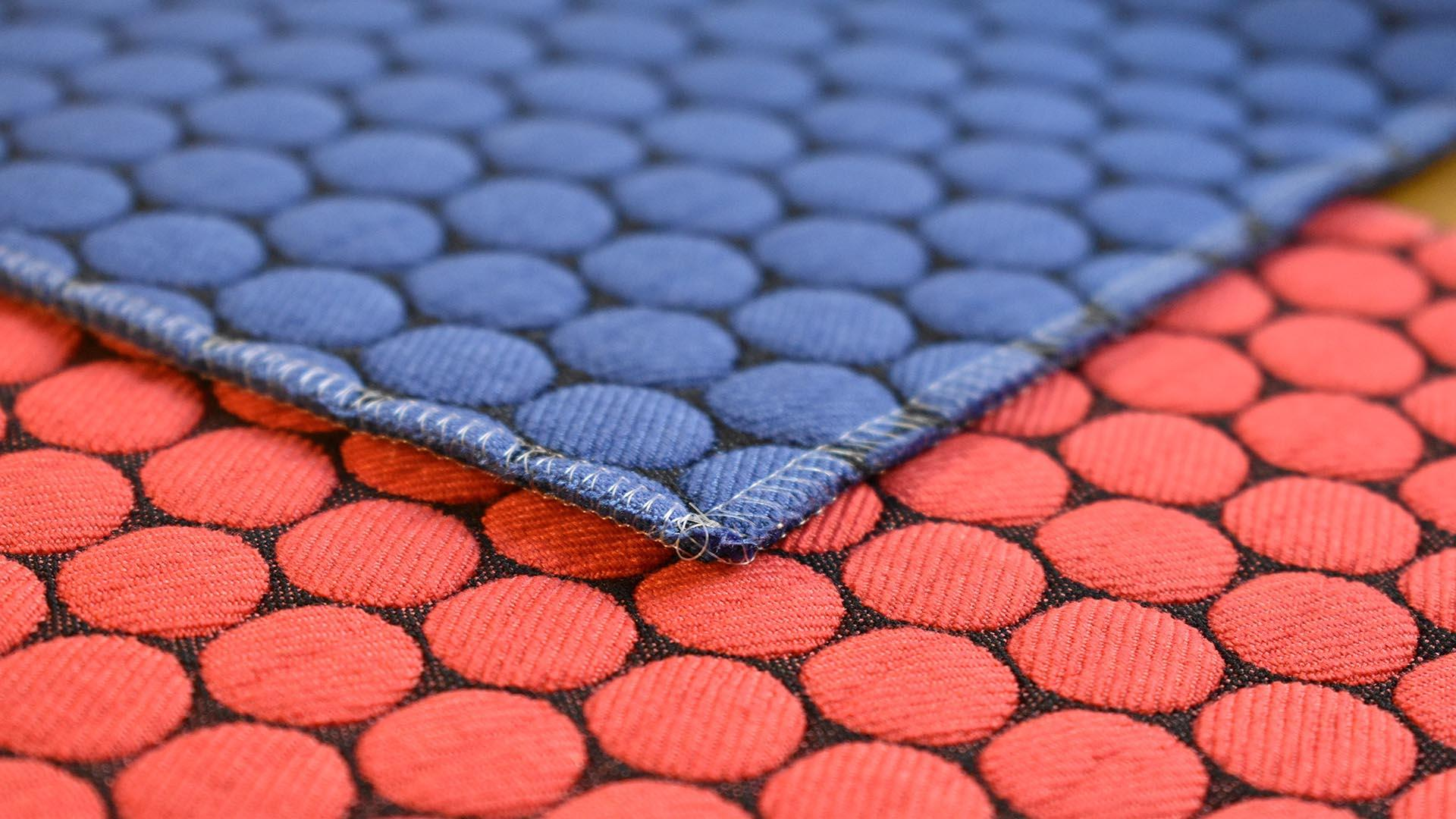 red and blue tiles of fabric