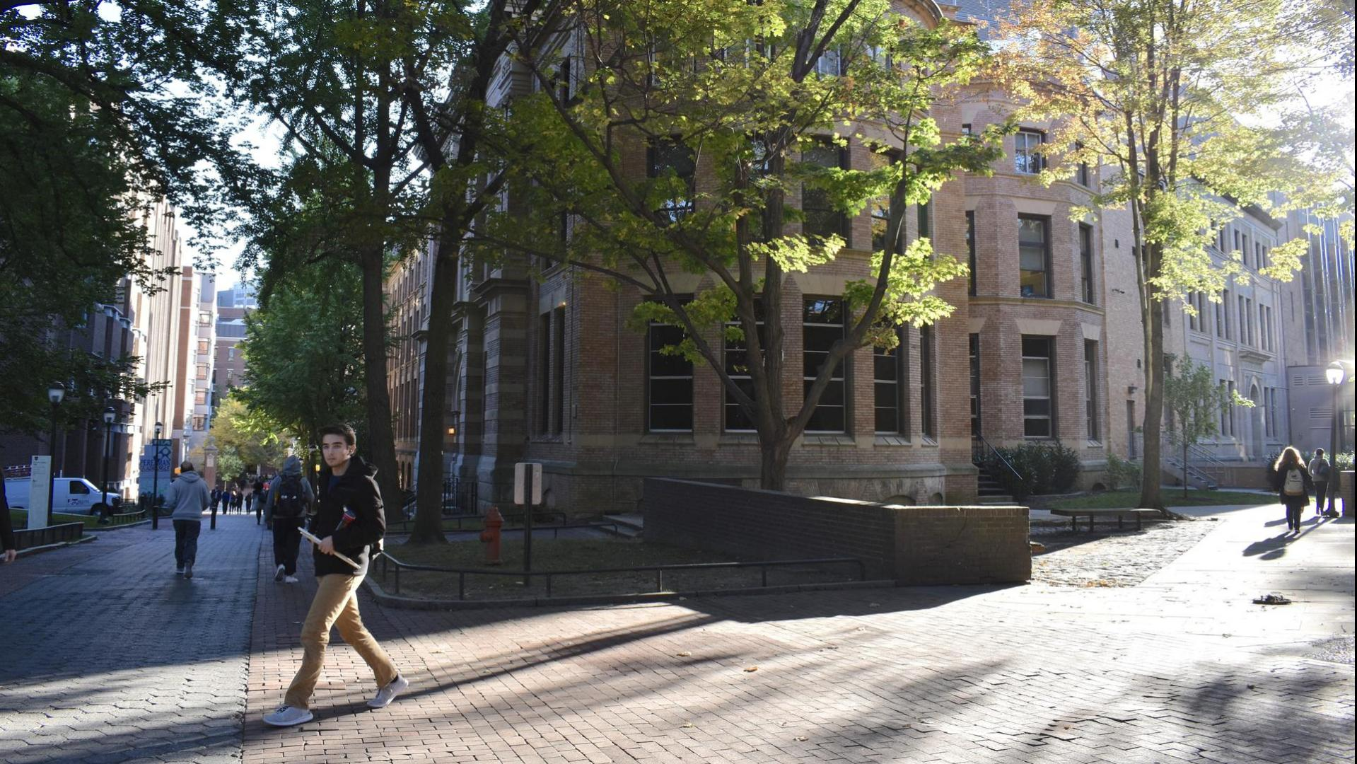 Student walking along locust walk