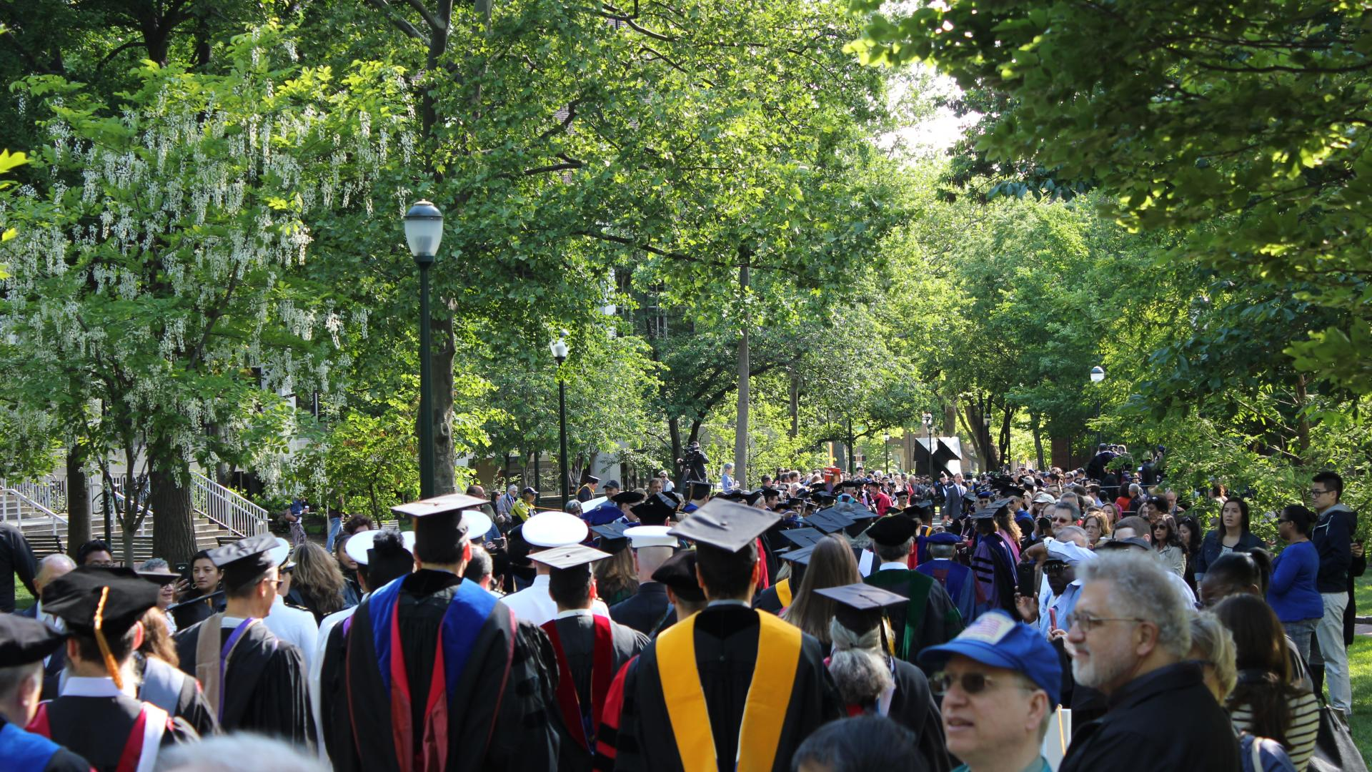 Students and families on Locust Walk for Commencement