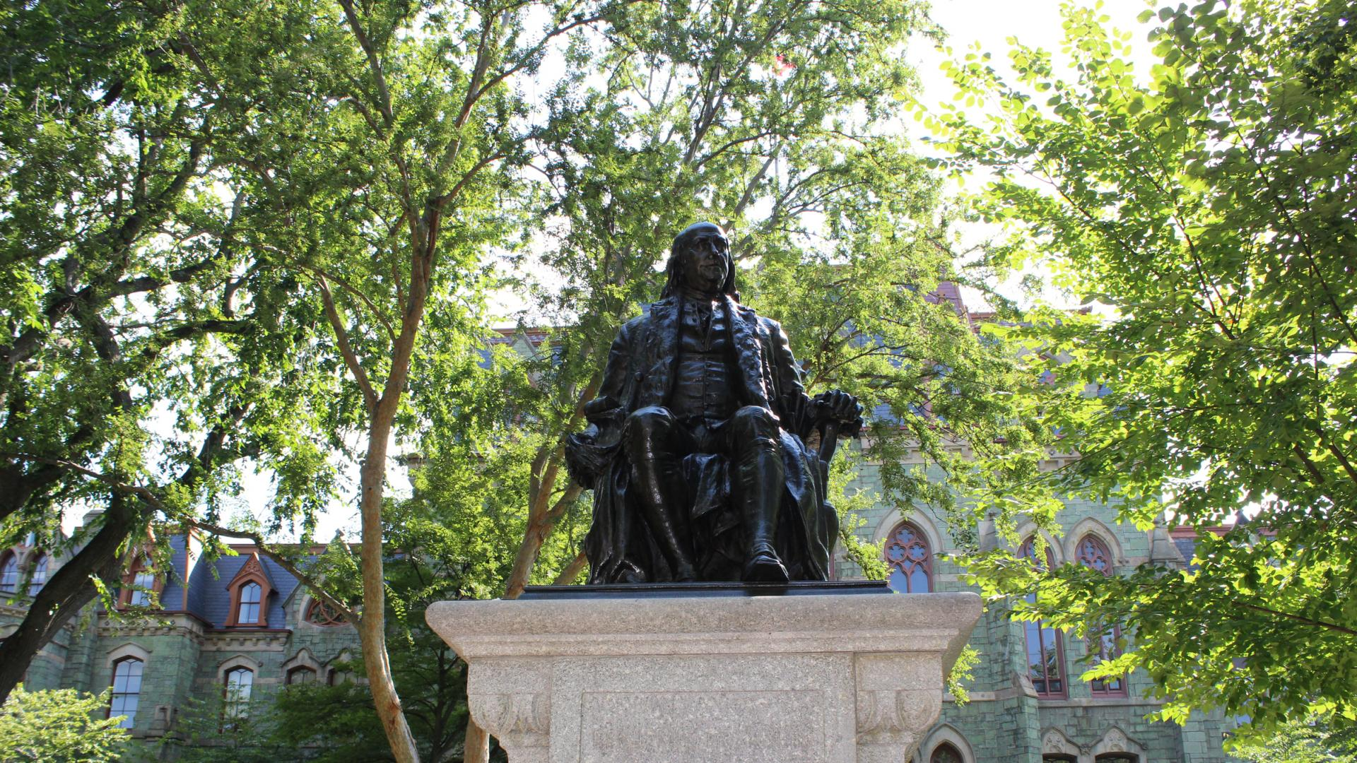 Ben Franklin statue in the summer, College Hall, Penn