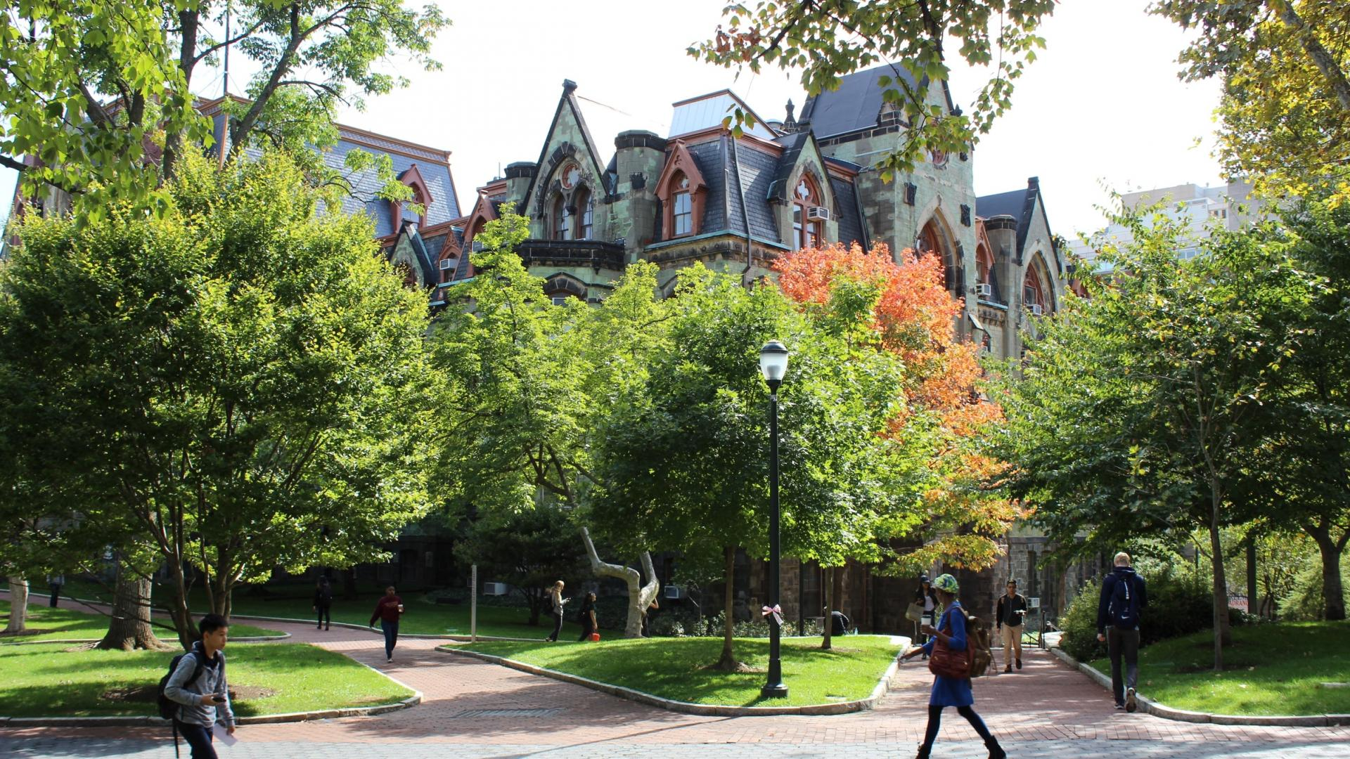 Vibrant photo of College Hall of of Locust Walk
