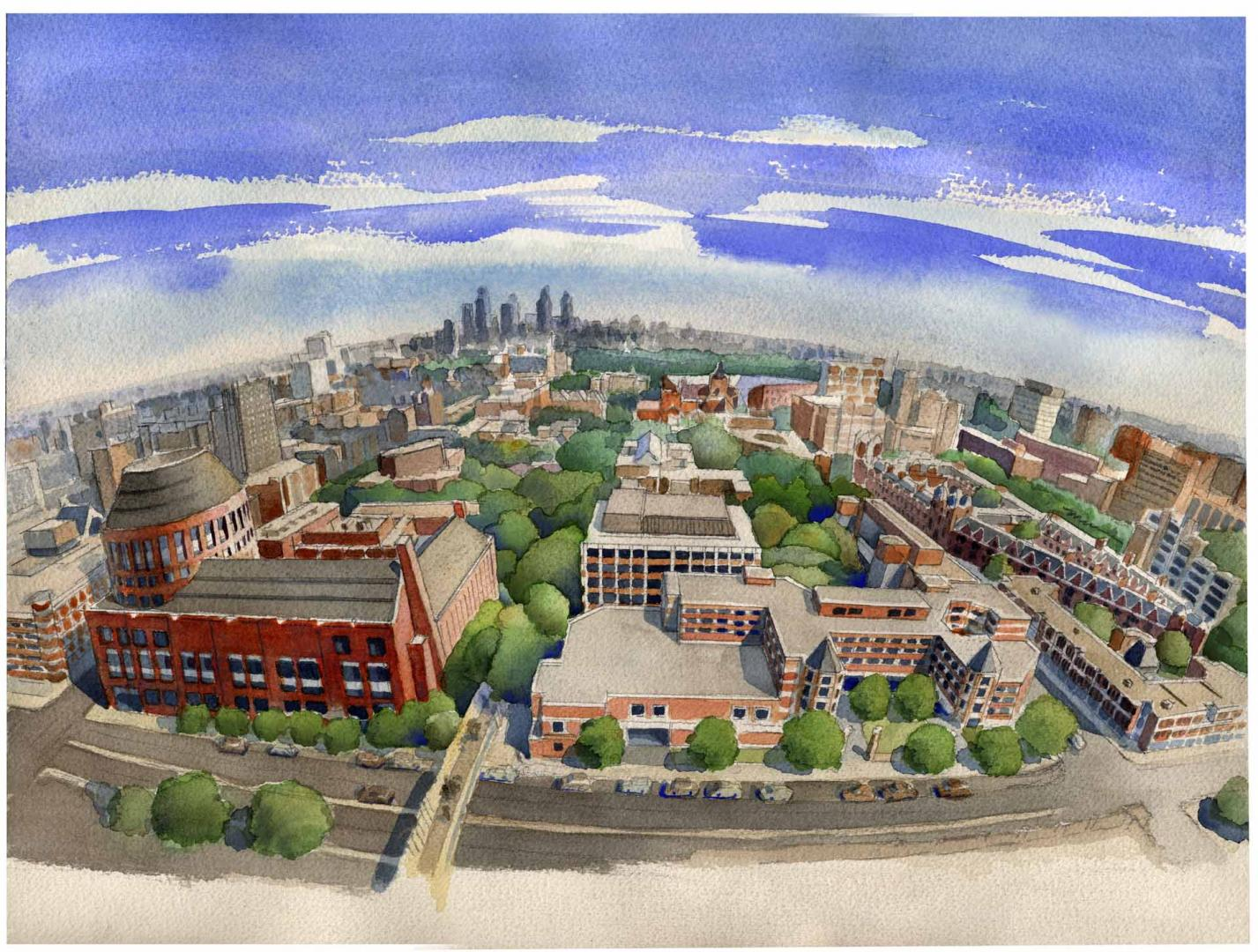 Illustration of Penn's campus looking East toward Center City