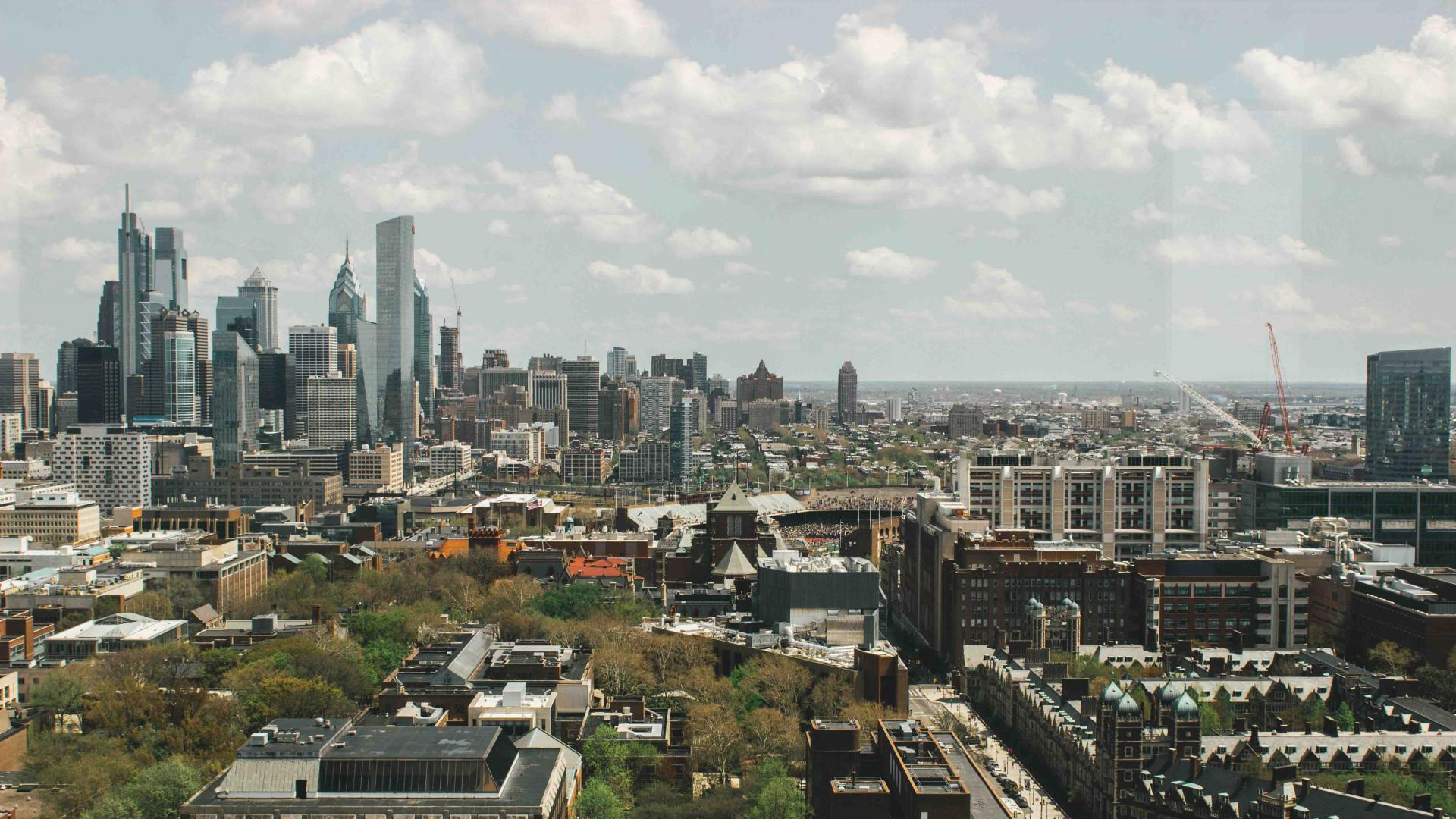 Philly skyline from Penn's campus