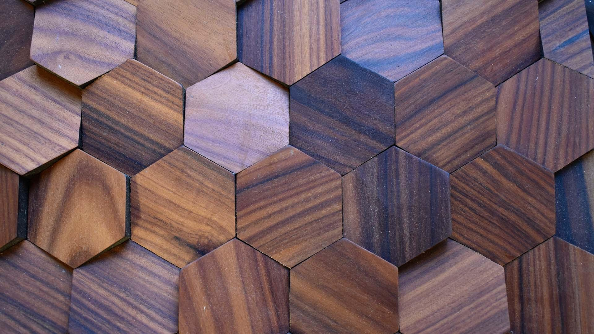 Textured wood material in hexagons
