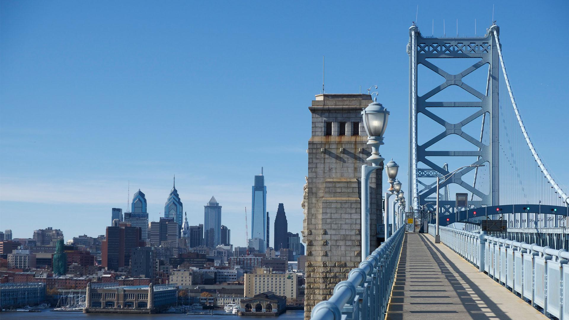 View of Philadelphia skyline from the Benjamin Franklin Bridge