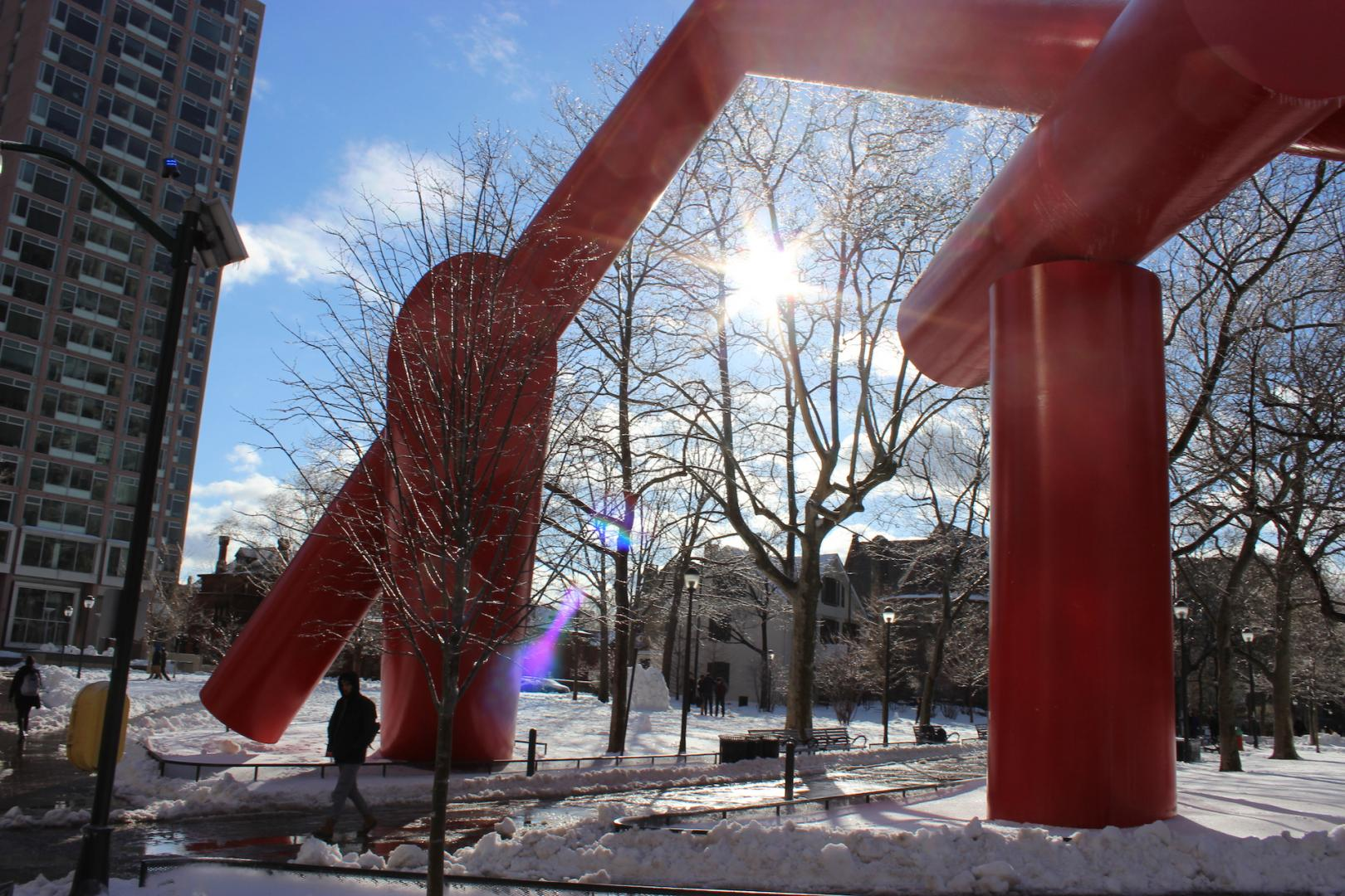 The Covenant Statue on Locust Walk in the snow