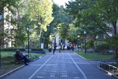 Locust Walk approaching the Quad dormitory