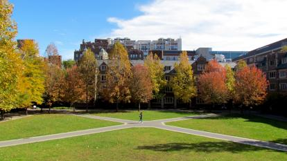 Quad dormitory courtyard in the fall