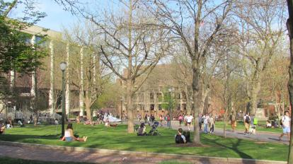 Students lounging on College Green
