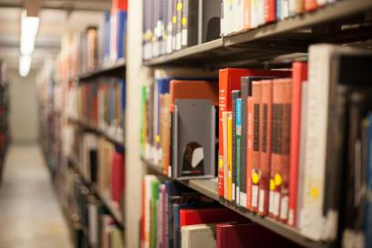Book shelf in library
